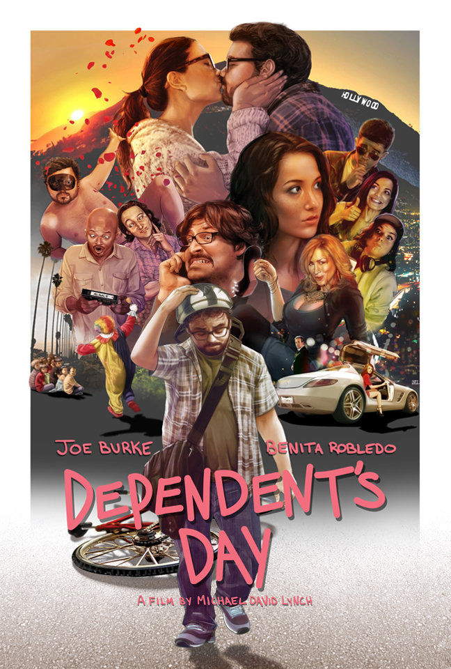 Dependent's Day inspired art by Chang Liu. A film by Michael David Lynch starring Joe Burke, Lisa Ann Walter, Benita Robledo, Shannon Lucio, Josh Staman, Erin Pineda, Todd Bridges and Brian George.