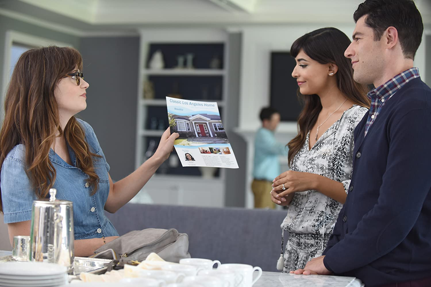 Zooey Deschanel, Max Greenfield, and Hannah Simone in New Girl (2011)