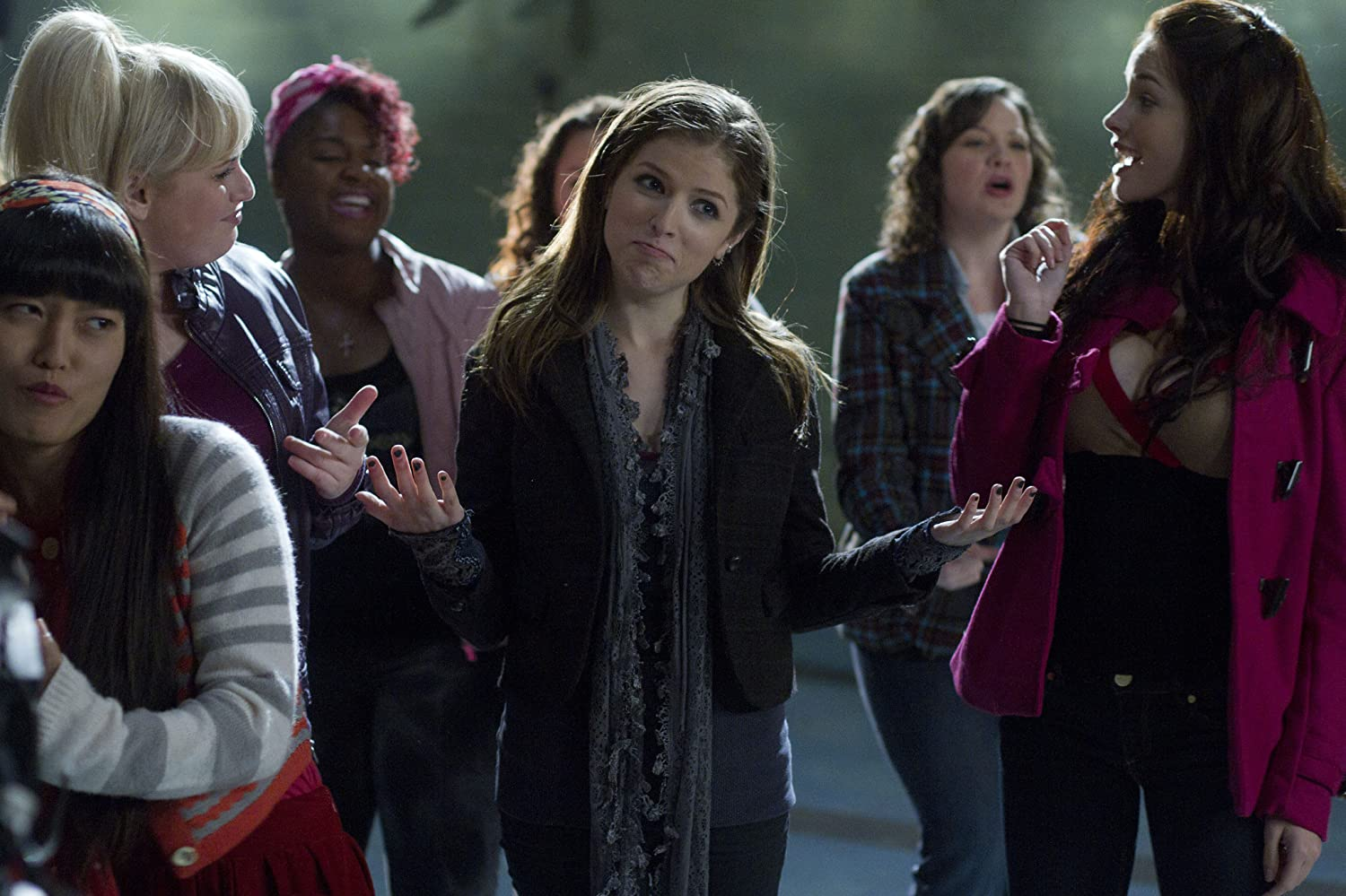 Anna Kendrick, Rebel Wilson, Hana Mae Lee, Alexis Knapp, Ester Dean, and Shelley Regner in Pitch Perfect (2012)