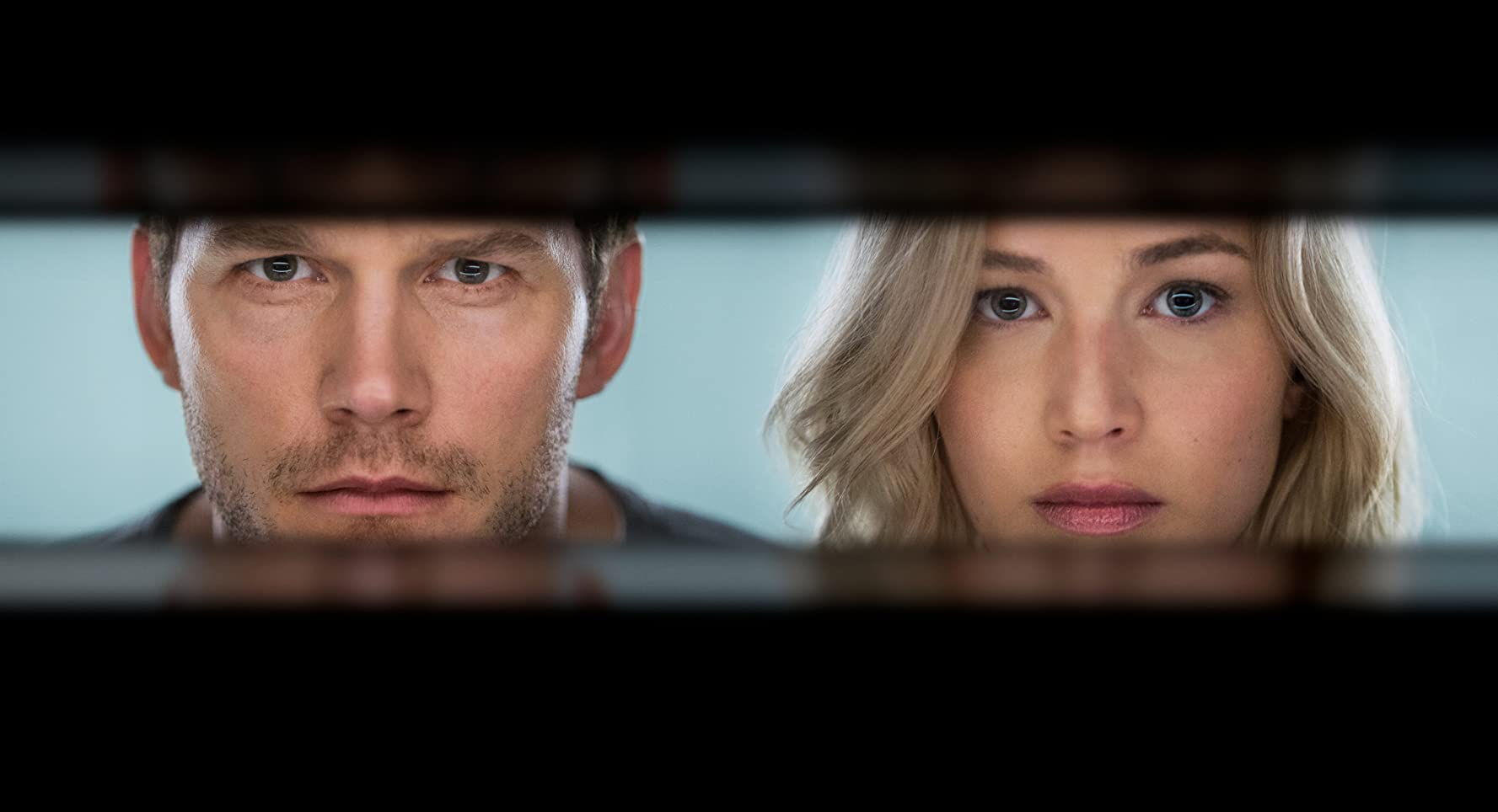 Chris Pratt and Jennifer Lawrence in Passengers (2016)