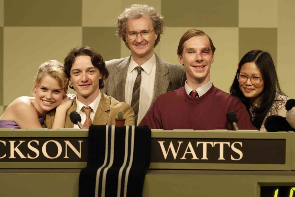 Mark Gatiss, James McAvoy, Benedict Cumberbatch, Elaine Tan, and Alice Eve in Starter for 10 (2006)