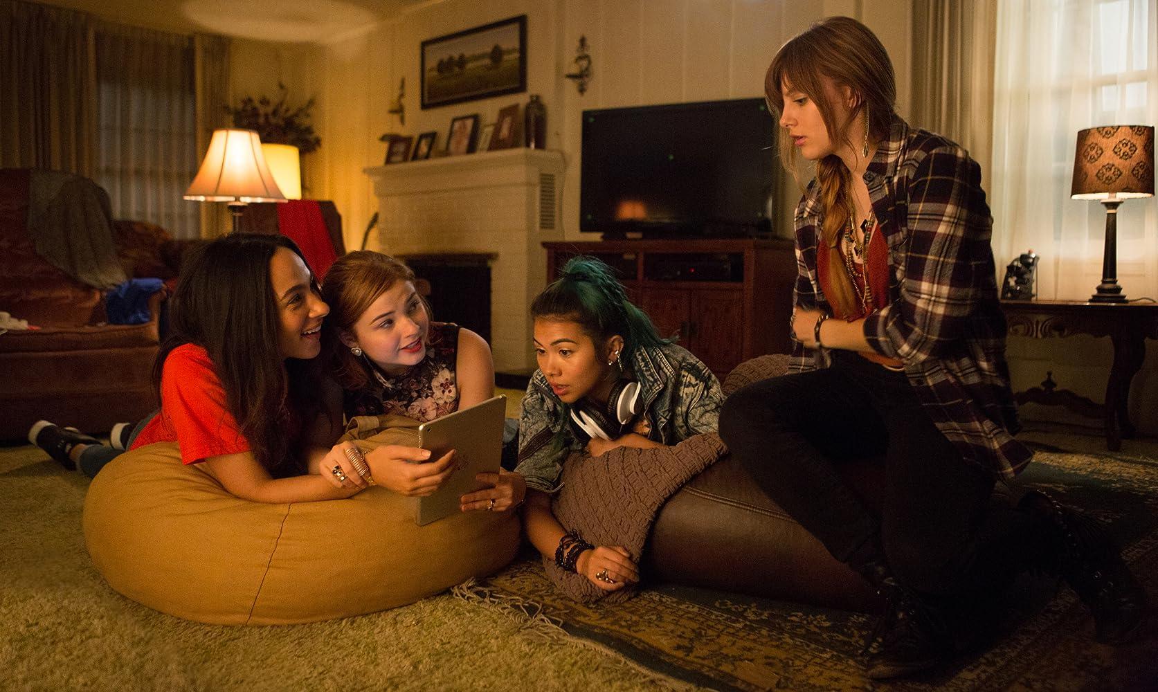 Stefanie Scott, Aubrey Peeples, Hayley Kiyoko, and Aurora Perrineau in Jem and the Holograms (2015)