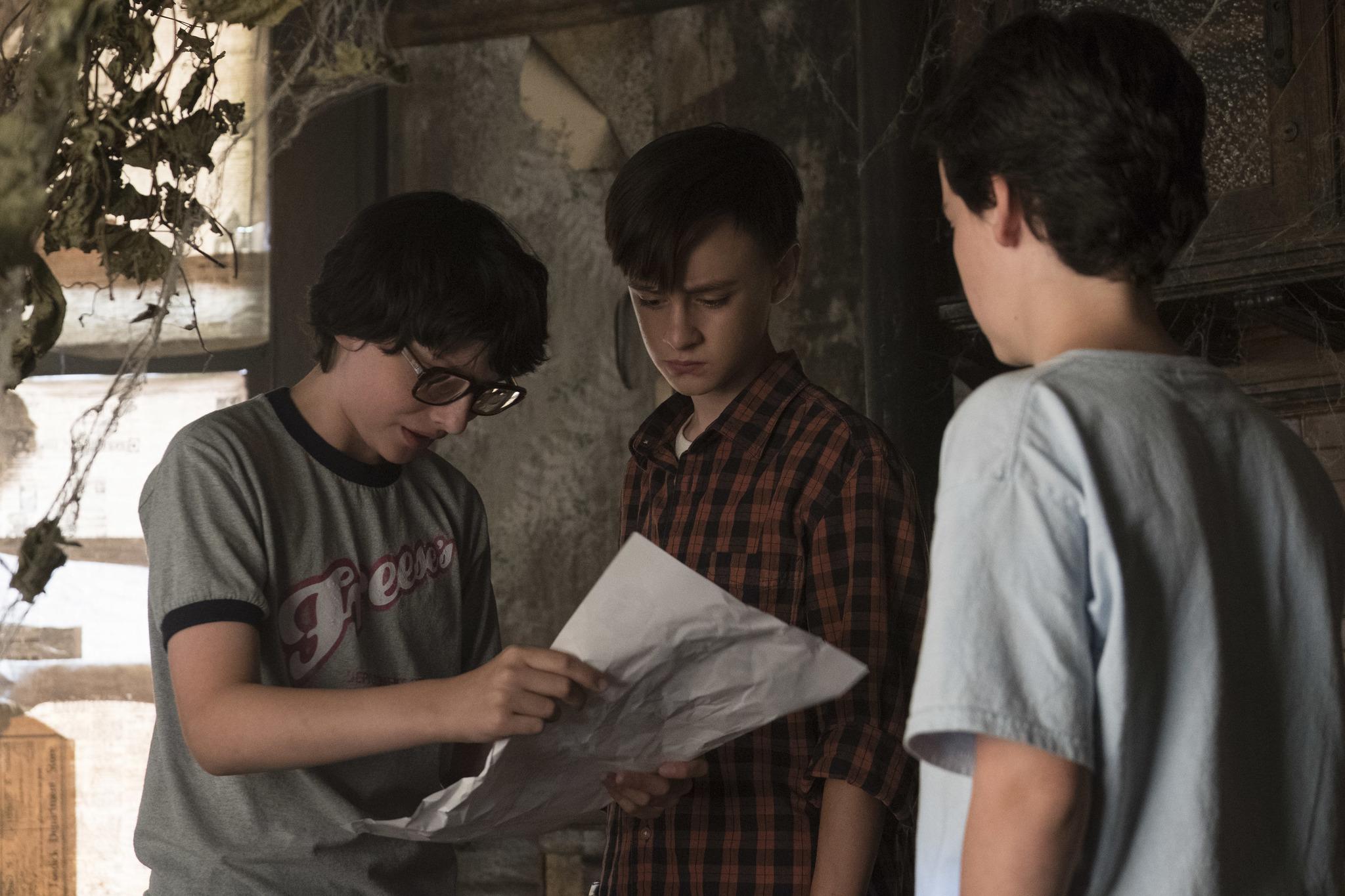 Jaeden Martell, Finn Wolfhard, and Jack Dylan Grazer in It (2017)