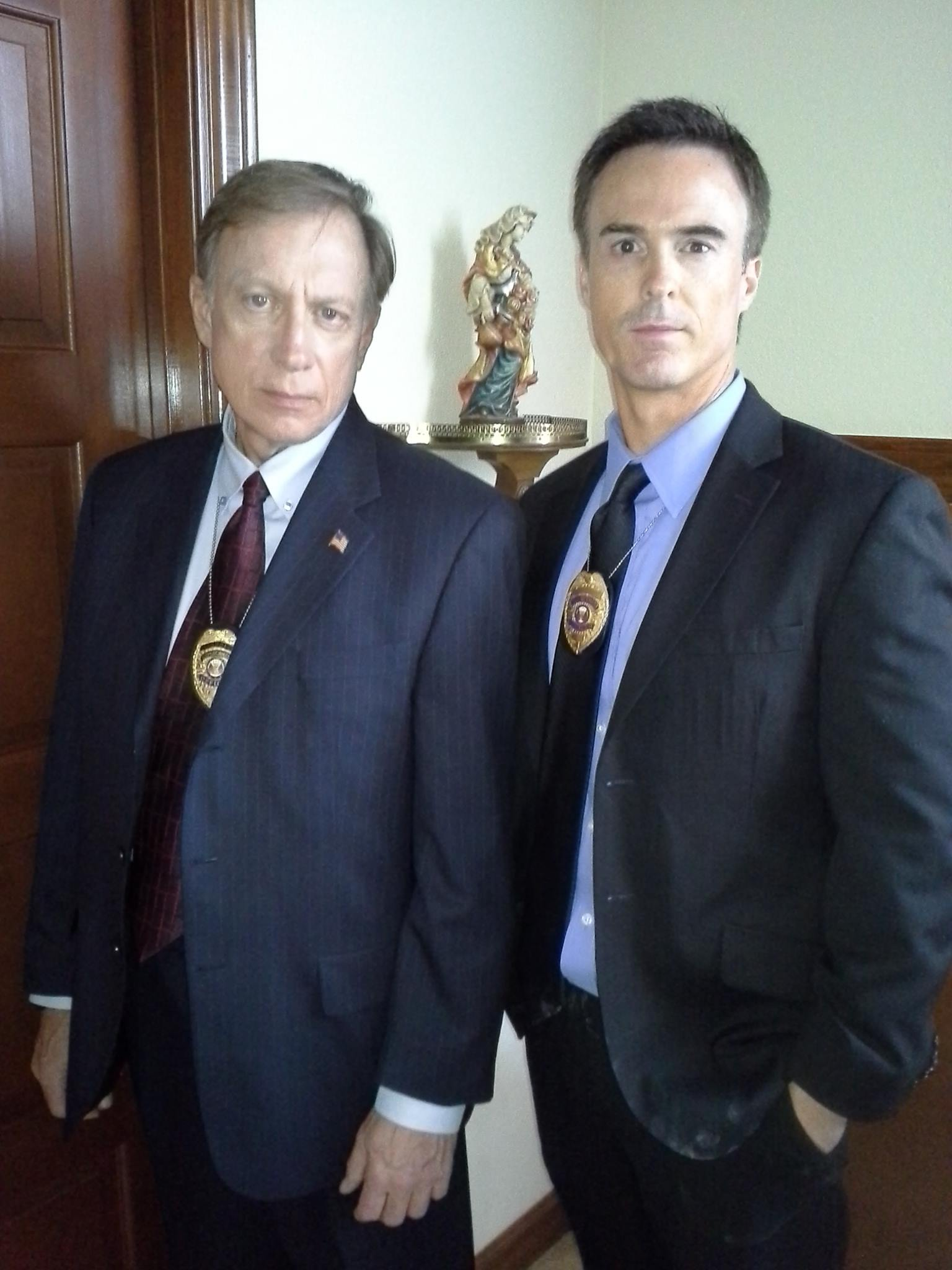 "David L. Schormann and Mike Ketchel, as FBI Agents, on set of ""I Almost Got Away With It"" (S7,Ep03, Got A Rich Widow)2014."