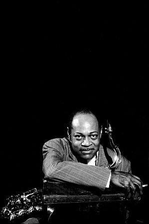 "Coleman Hawkins at the Shrine Auditorium for Norman Granz's ""Jazz at the Philharmonic"" concert, Los Angeles, CA, 1950. Modern silver gelatin, 12x9.5, signed. $750 © 1978 Bob Willoughby / MPTV"