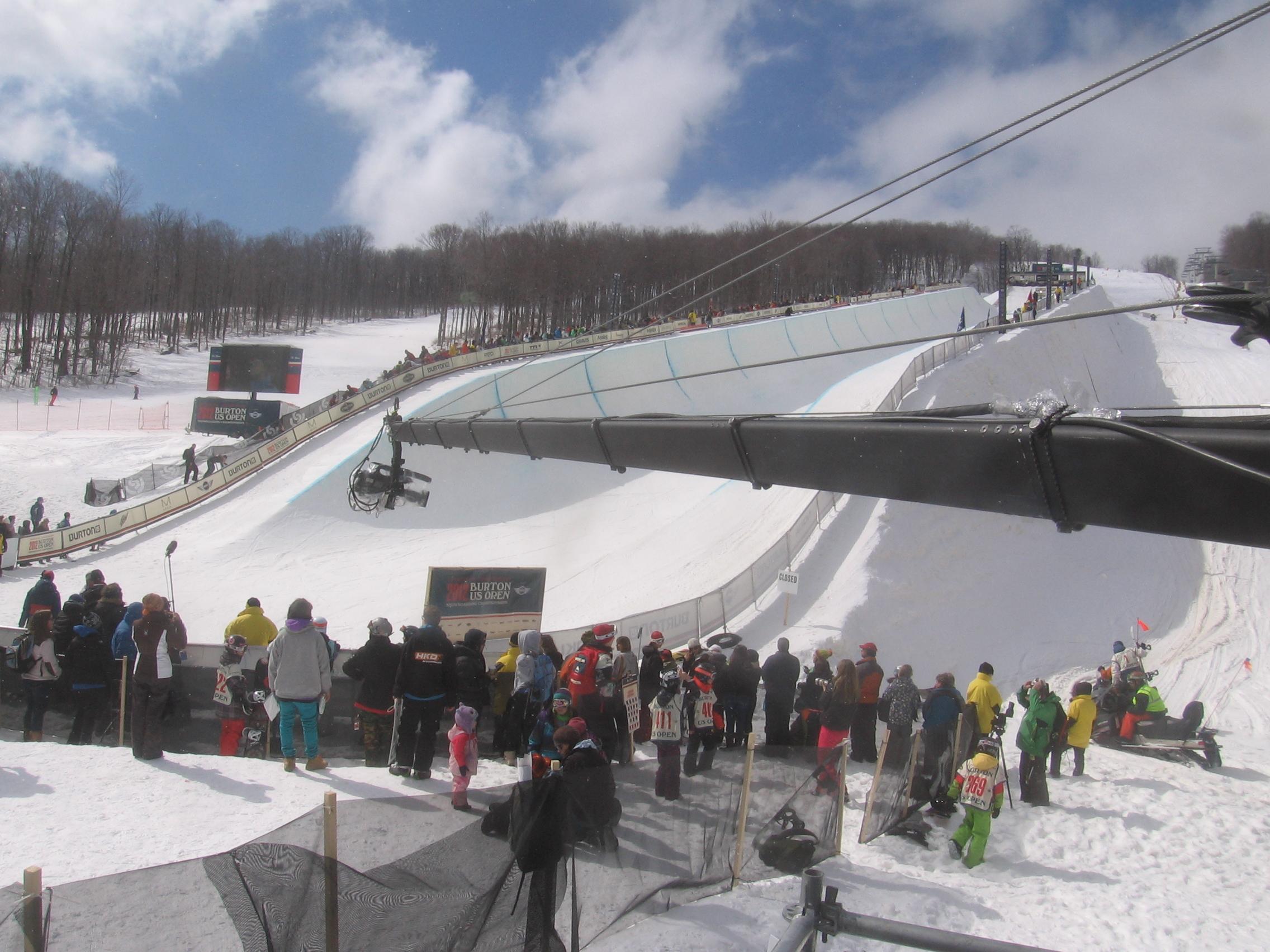 New York Jib, jimmy jib at Stratton Mountain for snowboarding championships