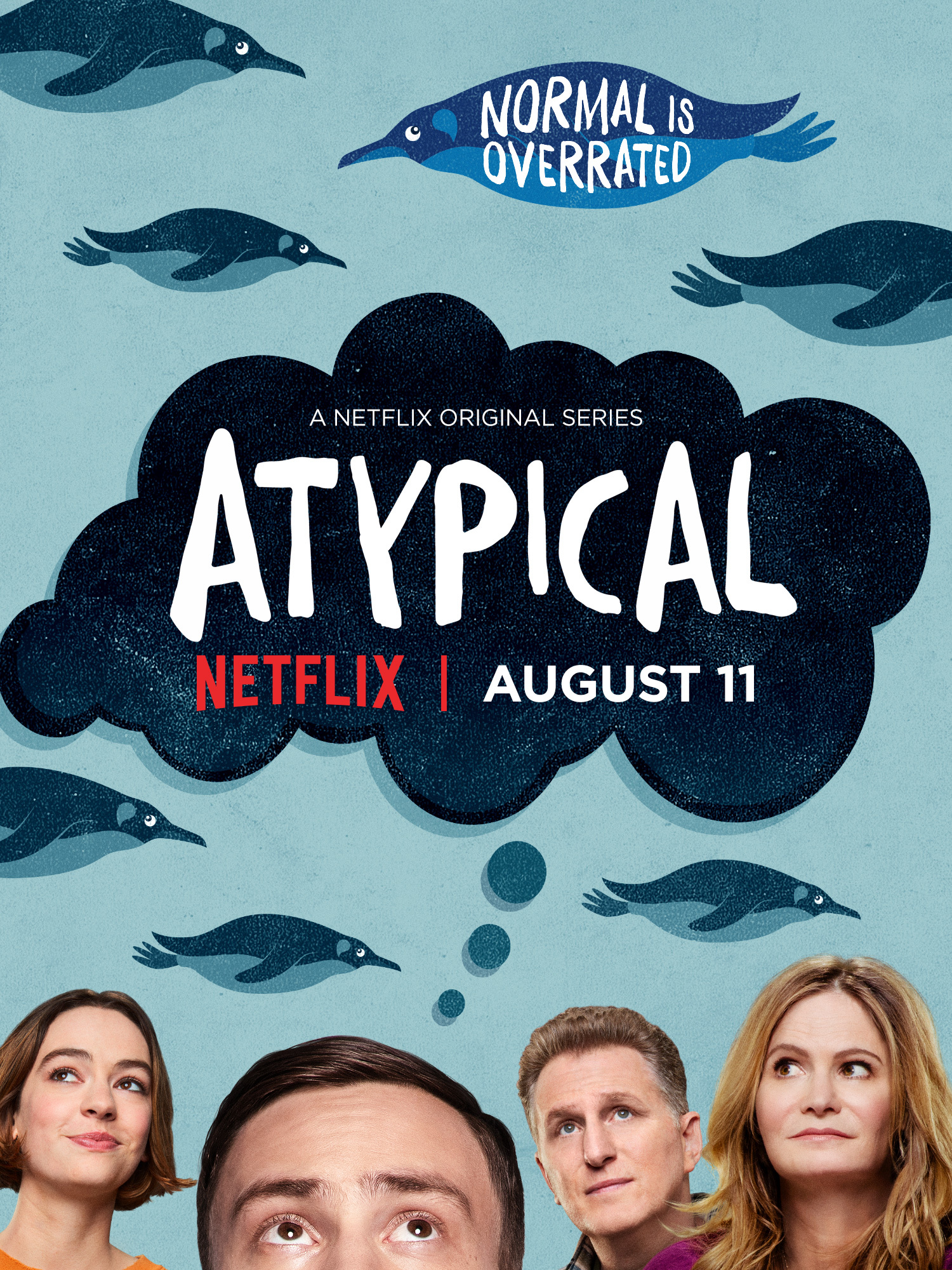 Jennifer Jason Leigh, Michael Rapaport, Keir Gilchrist, and Brigette Lundy-Paine in Atypical (2017)