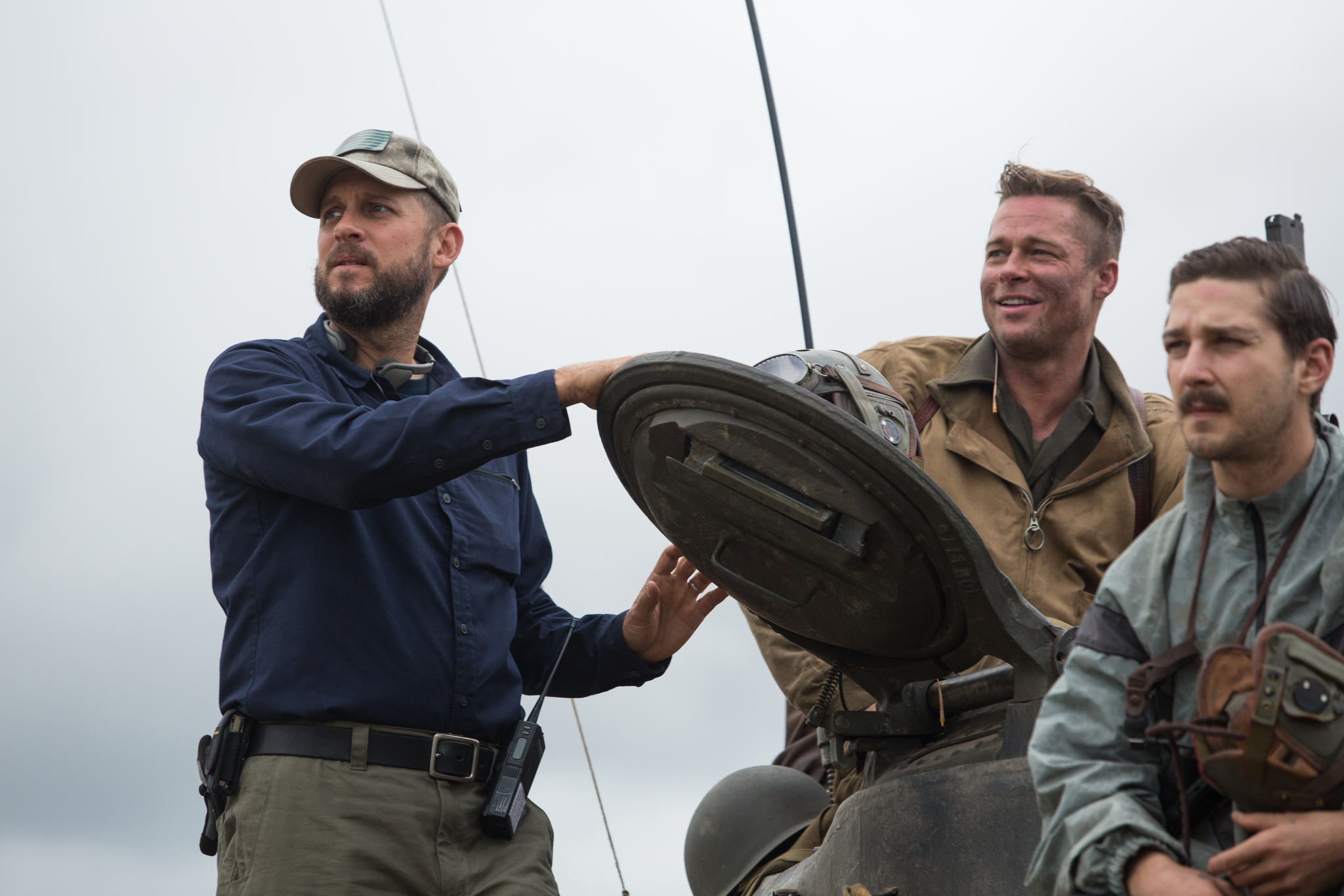 Brad Pitt, David Ayer, and Shia LaBeouf in Fury (2014)