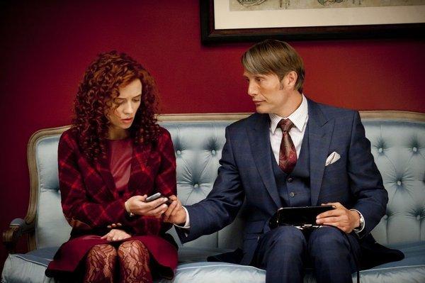 Mads Mikkelsen and Lara Jean Chorostecki in Hannibal (2013)