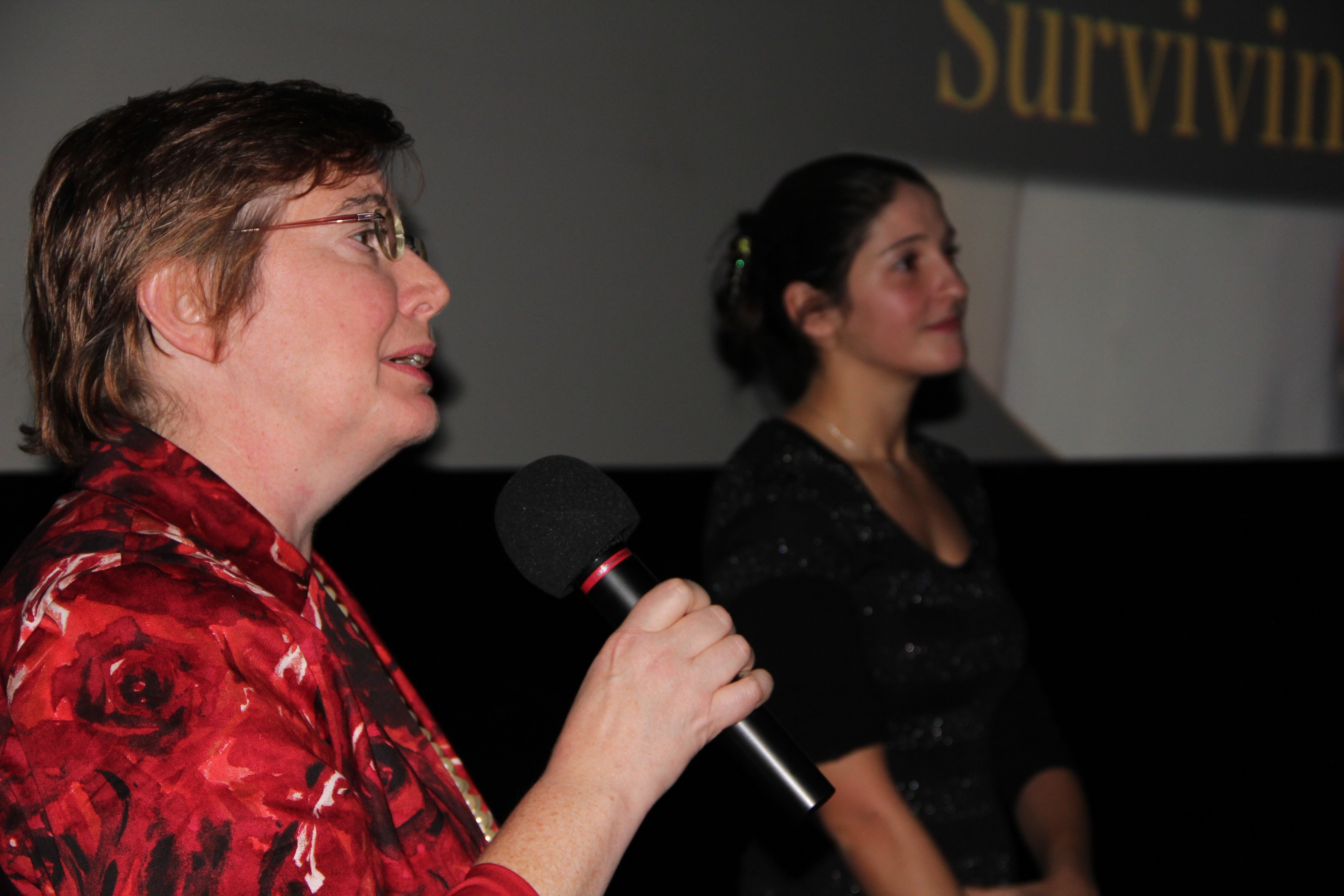 Writer/producer Mara Lesemann (left) and director Laura Thies at the q&a following the Munich screening.