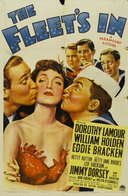 William Holden, Leif Erickson, Eddie Bracken, Gil Lamb, and Dorothy Lamour in The Fleet's In (1942)