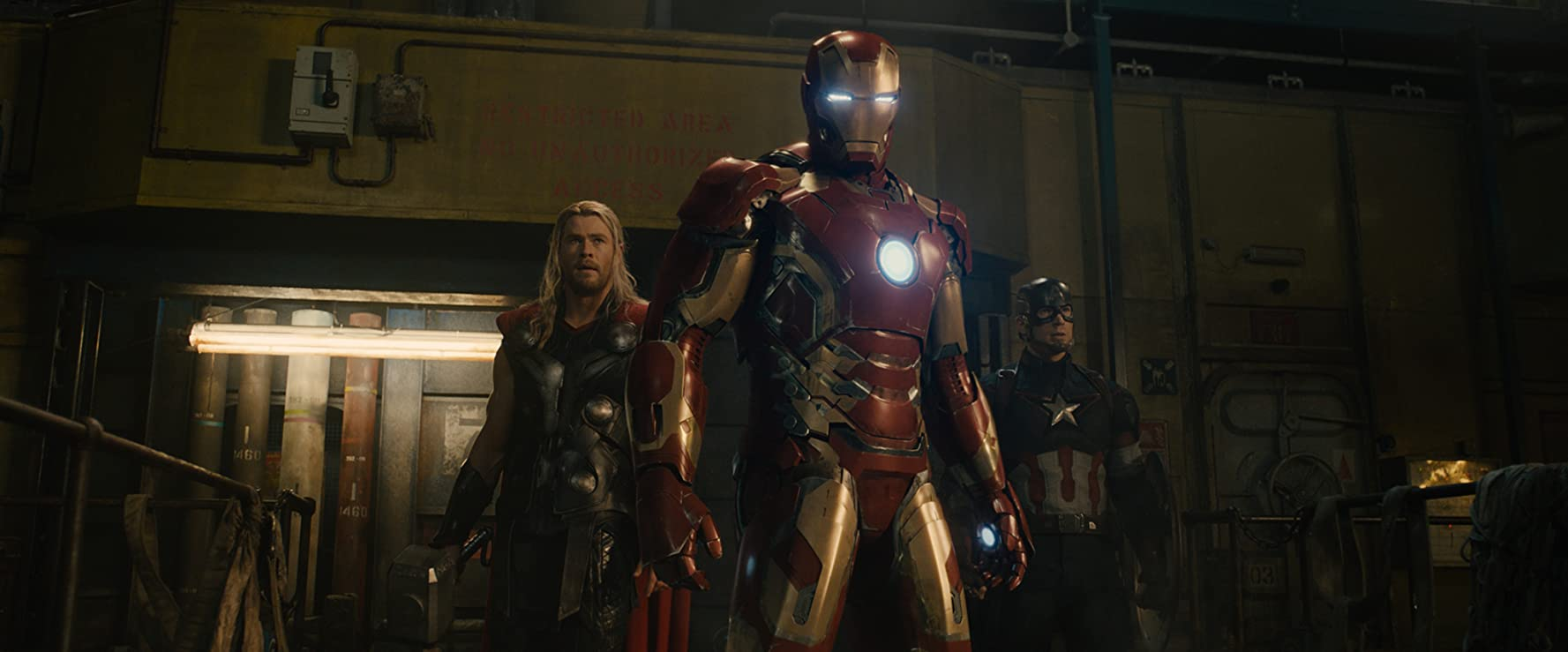 Robert Downey Jr., Chris Evans, and Chris Hemsworth in Avengers: Age of Ultron (2015)