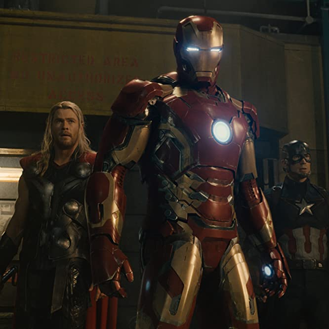Robert Downey Jr., Chris Evans, and Chris Hemsworth in Avengers: Age of Ultron (2015)