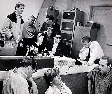 """(from L to R) BACK: Brian Wilson aka """"The Beach Boys"""", Tutti Camarata, Annette Funicello, Robert B. Sherman, Richard M. Sherman, Al Jardine. FRONT:  Dennis Wilson, Carl Wilson, Mike Love. During the recording session for """"Monkey's Uncle, The (1965)."""""""