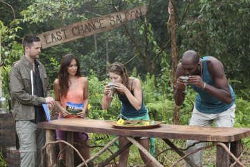 Myleene Klass, John Salley, and Damien Fahey in I'm a Celebrity, Get Me Out of Here! (2003)