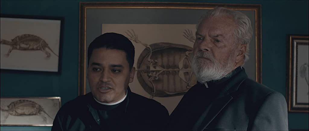 Two priests in a gothic looking room