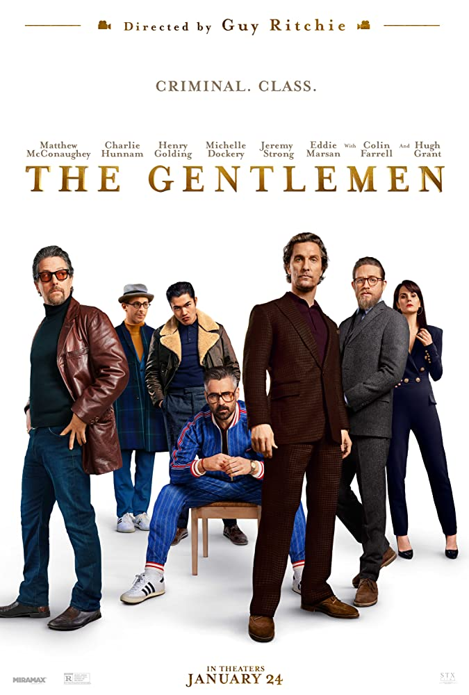 Matthew McConaughey, Hugh Grant, Colin Farrell, Charlie Hunnam, Jeremy Strong, Michelle Dockery, and Henry Golding in The Gentlemen (2020)