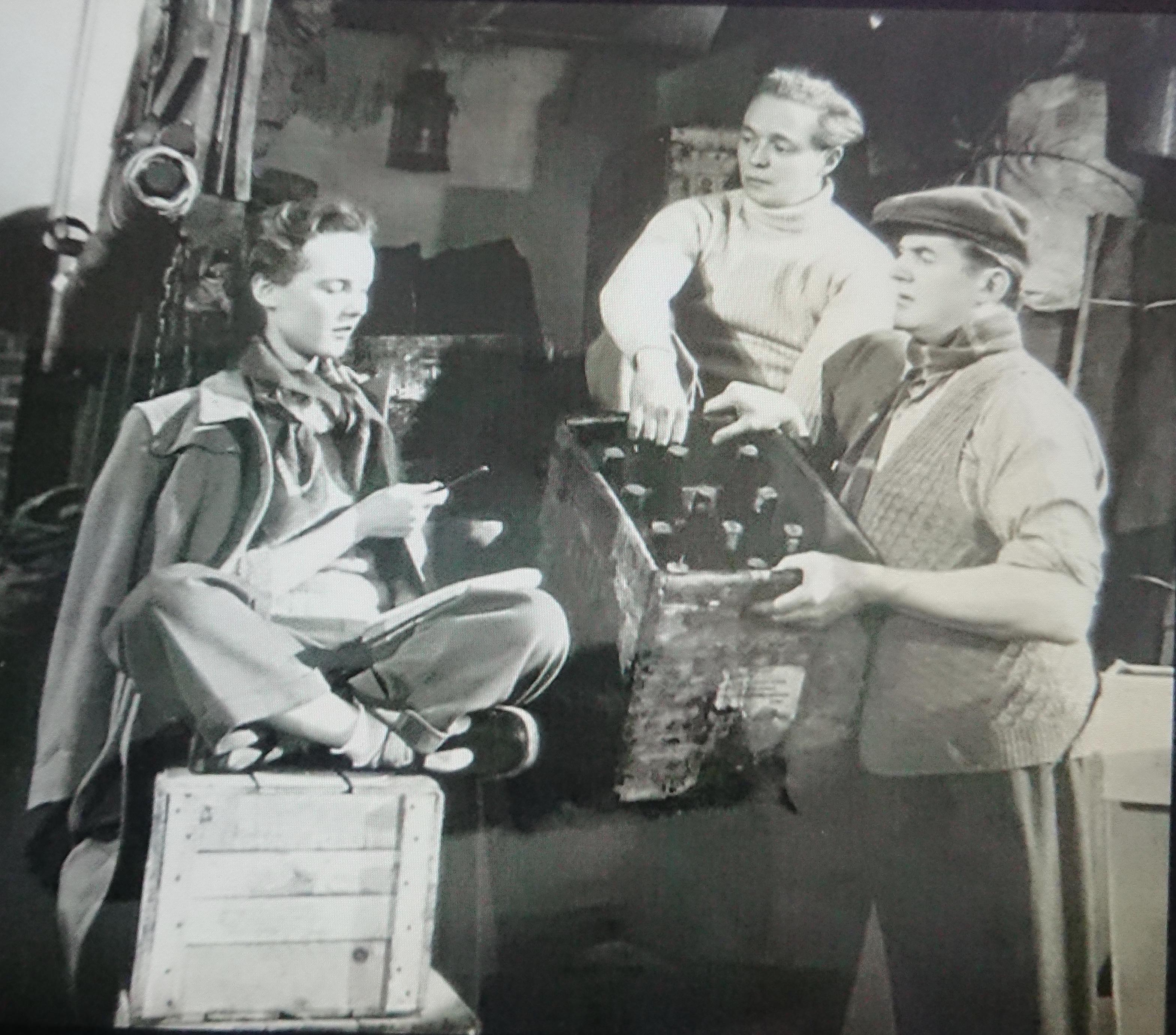 Petula Clark, Jimmy Hanley, and Jack Warner in The Huggetts Abroad (1949)