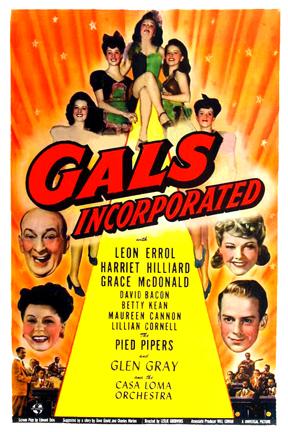 David Bacon, Maureen Cannon, Lillian Cornell, Leon Errol, Harriet Nelson, Betty Kean, Grace McDonald, and Minna Phillips in Gals, Incorporated (1943)
