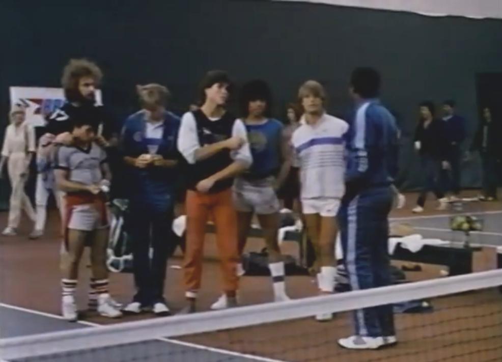 Donald Gibb, Stoney Jackson, Perry Lang, Adam Mills, Trinidad Silva, and Scott Strader in Jocks (1986)