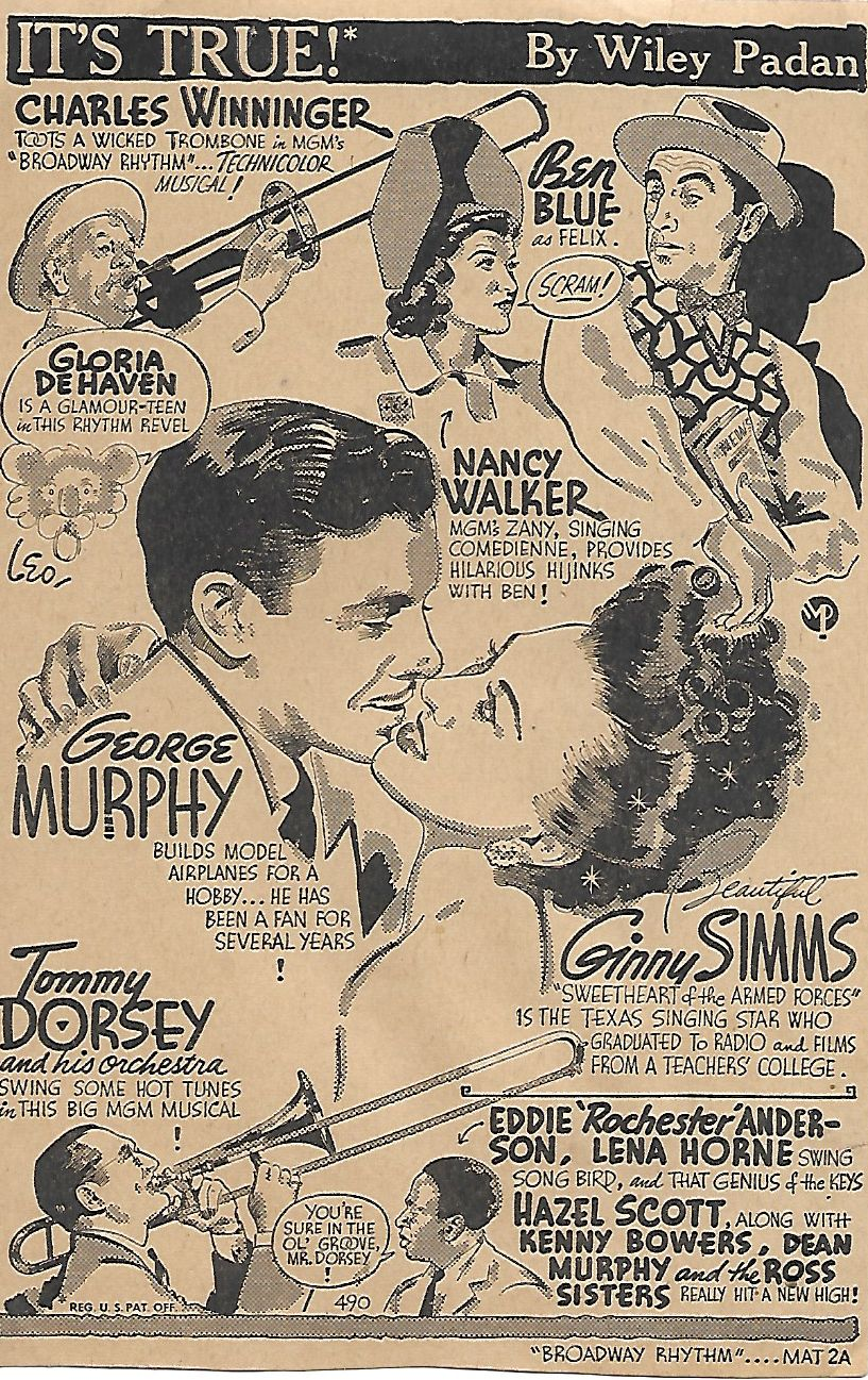 Gloria DeHaven, Eddie 'Rochester' Anderson, Ben Blue, Tommy Dorsey, George Murphy, Ginny Simms, and Nancy Walker in Broadway Rhythm (1944)
