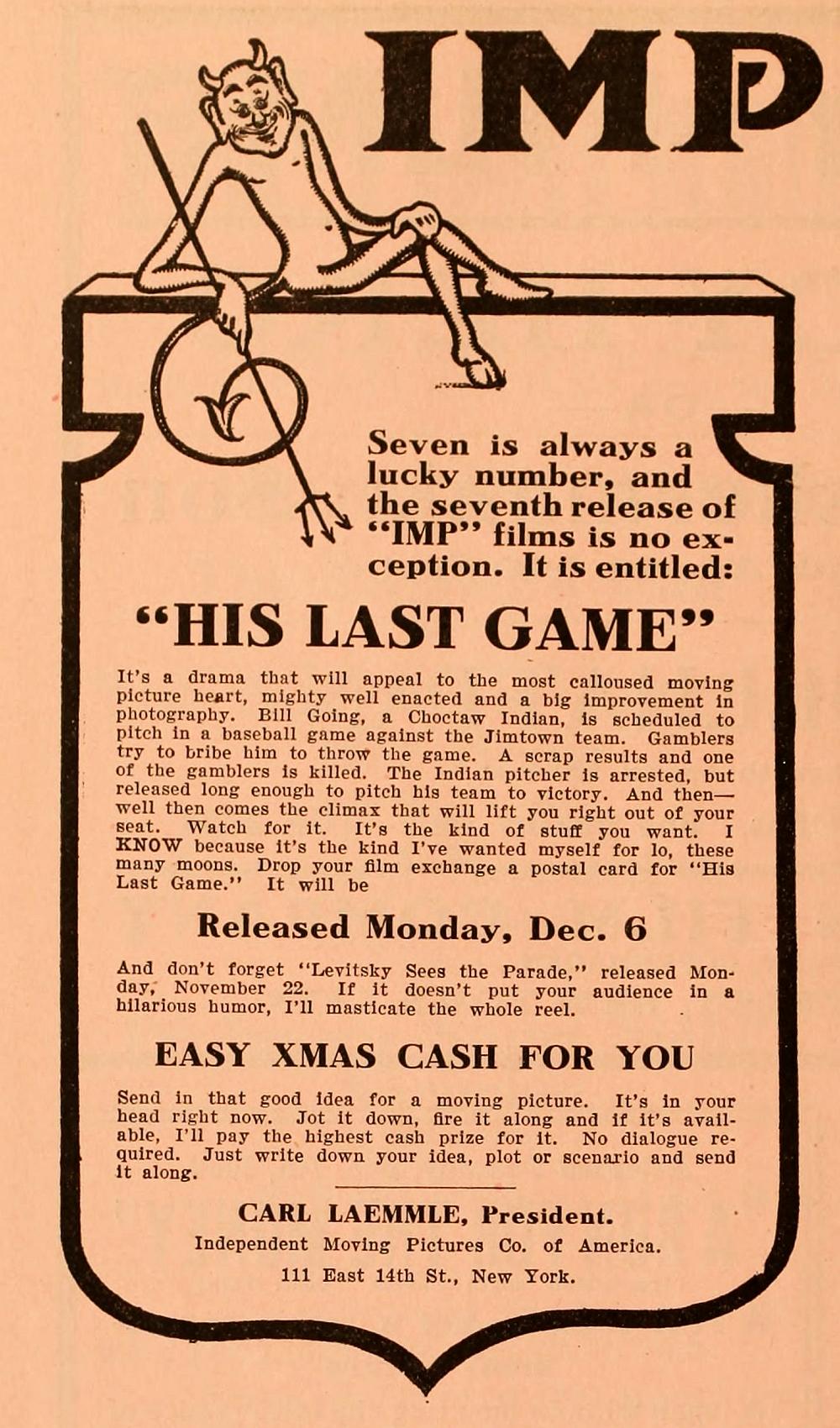 His Last Game 1909 Imdb