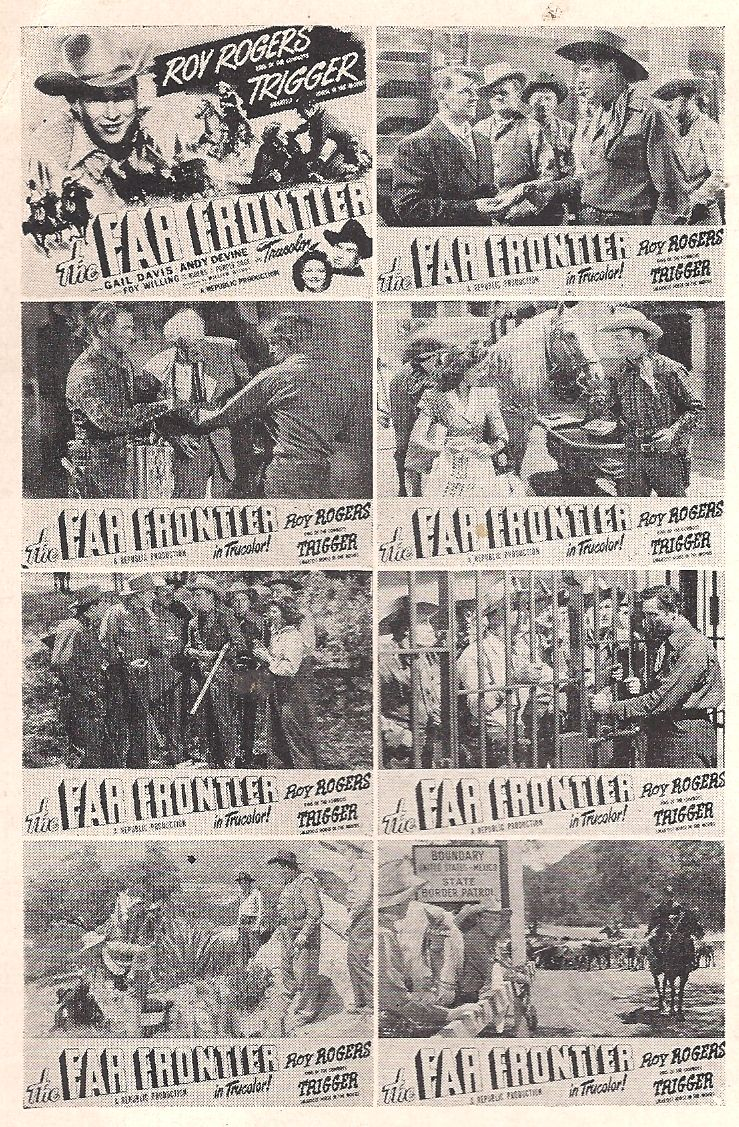 Roy Rogers, Roy Barcroft, Clayton Moore, Gail Davis, Andy Devine, Francis Ford, and Trigger in The Far Frontier (1948)