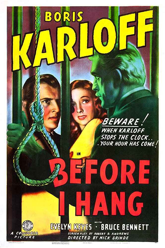 Boris Karloff, Bruce Bennett, and Evelyn Keyes in Before I Hang (1940)