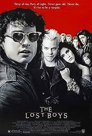 Jami Gertz, Corey Haim, Jason Patric, Kiefer Sutherland, Alex Winter, and Billy Wirth in The Lost Boys (1987)