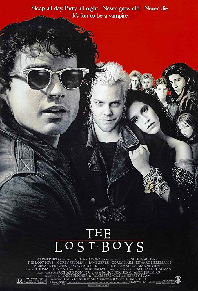 Jami Gertz, Corey Haim, Jason Patric, Kiefer Sutherland, Kelly Jo Minter, Alex Winter, and Billy Wirth in The Lost Boys (1987)
