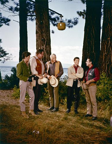 Lorne Greene, Michael Landon, Dan Blocker, David Canary, and Bing Russell in Bonanza (1959)