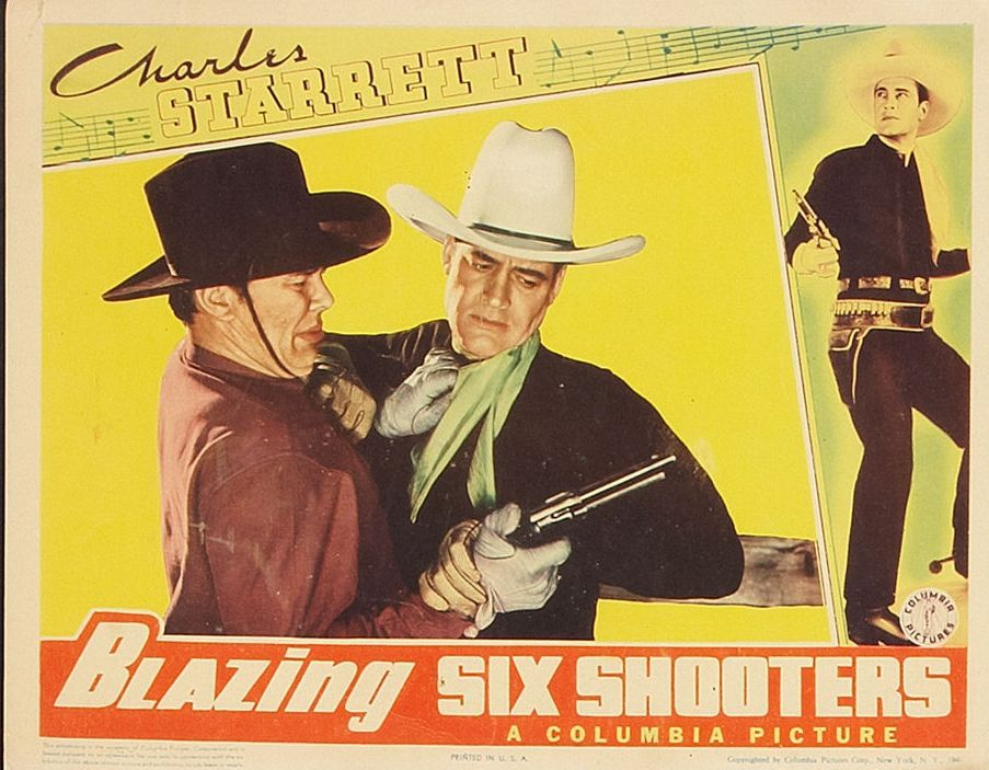 Dick Curtis and Charles Starrett in Blazing Six Shooters (1940)