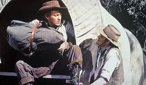 Strother Martin and Dick York in Cowboy (1958)