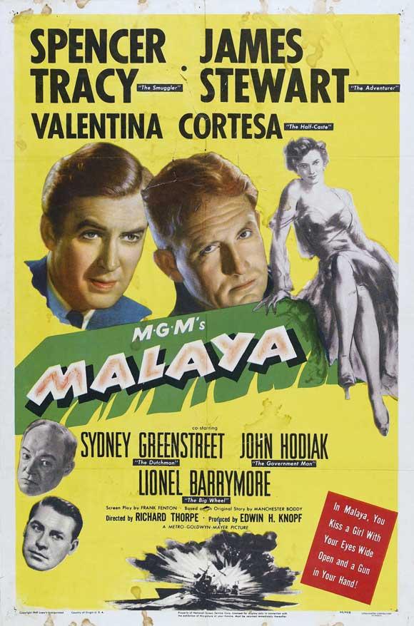 James Stewart, Spencer Tracy, Sydney Greenstreet, Valentina Cortese, and John Hodiak in Malaya (1949)
