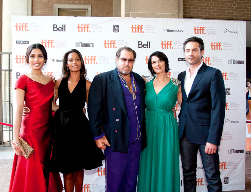 Freida Pinto, Rula Jebreal, Julian Schnabel, Hiam Abbass and Omar Metwally at the premiere of MIRAL, Toronto Film Festival.