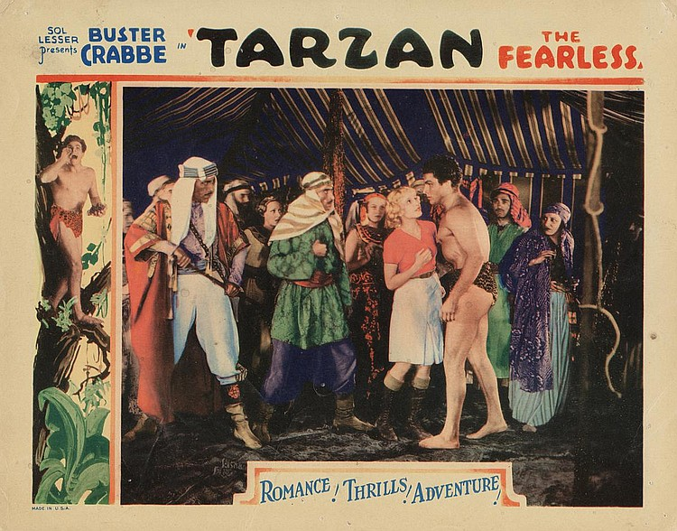 Mischa Auer, Julie Bishop, Symona Boniface, Buster Crabbe, Frank Lackteen, Philo McCullough, and Carlotta Monti in Tarzan the Fearless (1933)