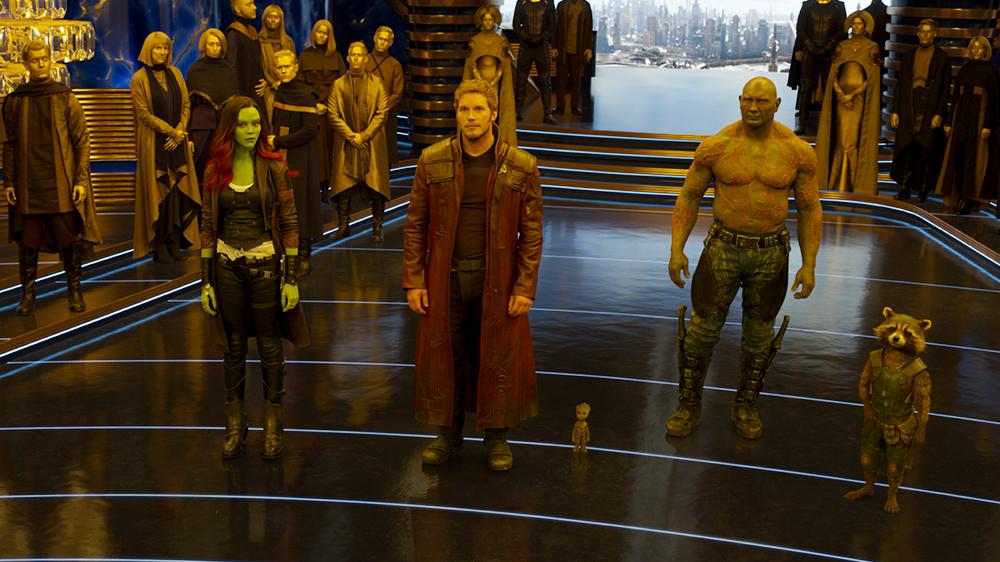 Vin Diesel, Bradley Cooper, Chris Pratt, Zoe Saldana, dan Dave Bautista dalam Guardians of the Galaxy Vol. 2 (2017)