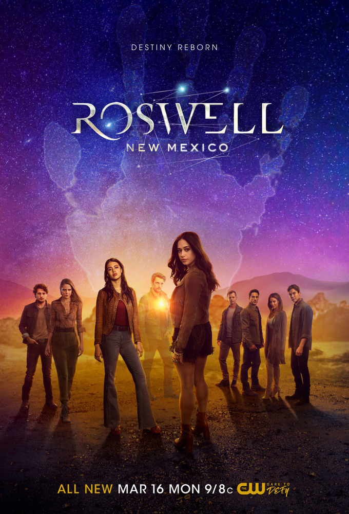 Trevor St. John, Nathan Parsons, Amber Midthunder, Michael Trevino, Heather Hemmens, Tyler Blackburn, Jeanine Mason, Michael Vlamis, and Lily Cowles in Roswell, New Mexico (2019)