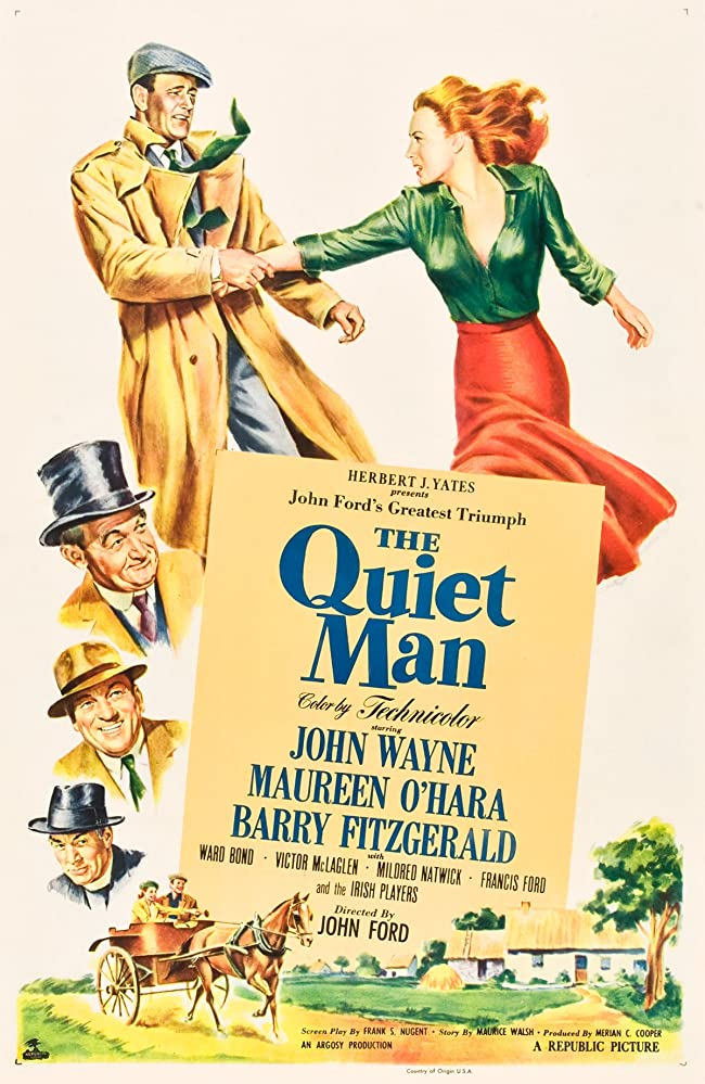 Maureen O'Hara, John Wayne, Ward Bond, and Barry Fitzgerald in The Quiet Man (1952)
