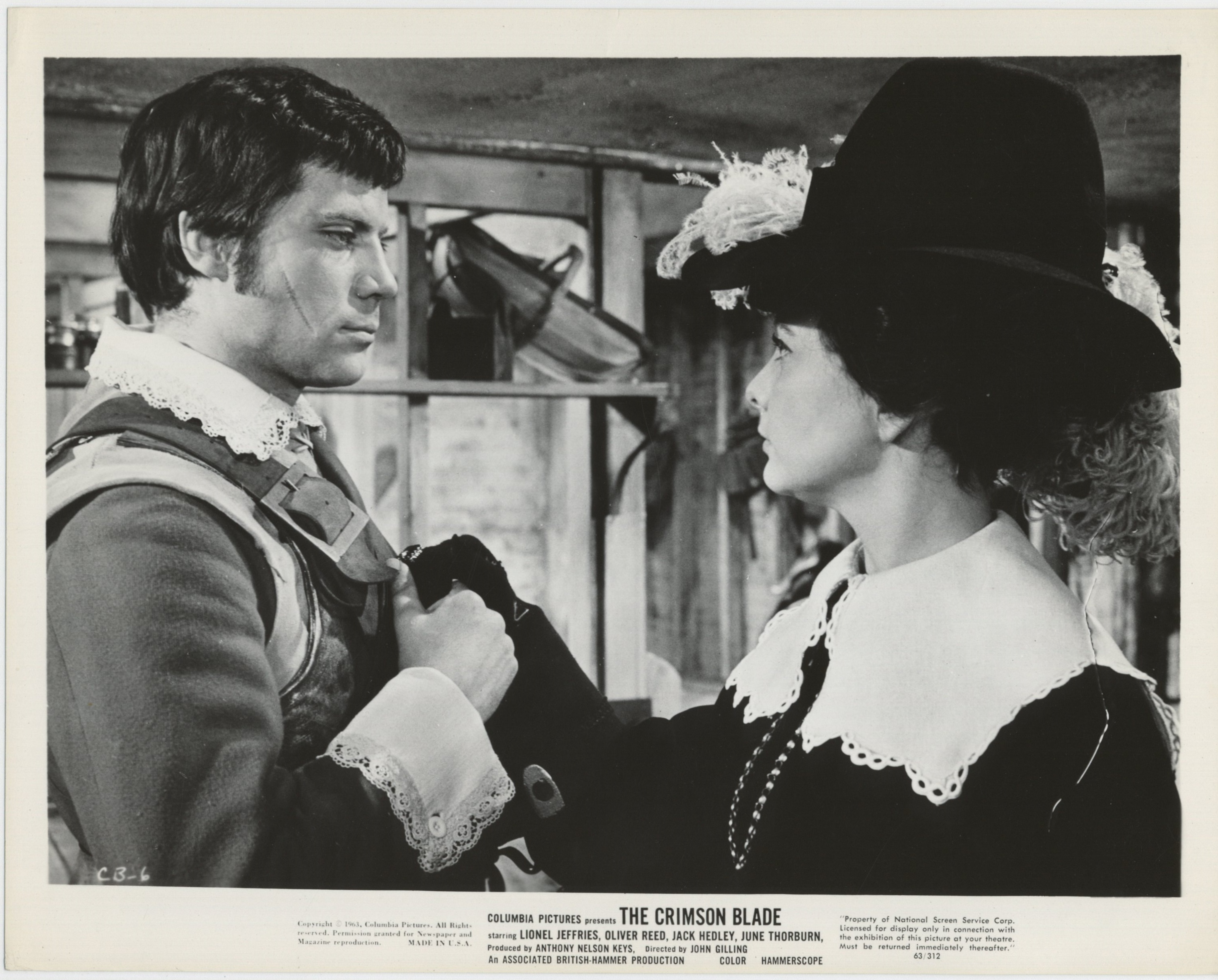 Oliver Reed and June Thorburn in The Scarlet Blade (1963)