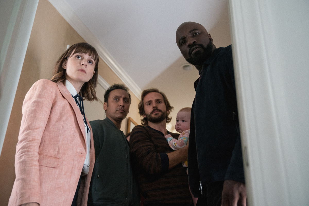 Aasif Mandvi, Katja Herbers, Michael Stahl-David, and Mike Colter in Evil (2019)