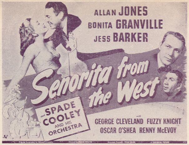 Jess Barker, Bonita Granville, Allan Jones, and Fuzzy Knight in Senorita from the West (1945)