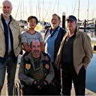 Never Too Late cast members James Cromwell, Zachary Wan, Roy Billing, Jack Thompson, Dennis Waterman on the Largs Bay Jetty.