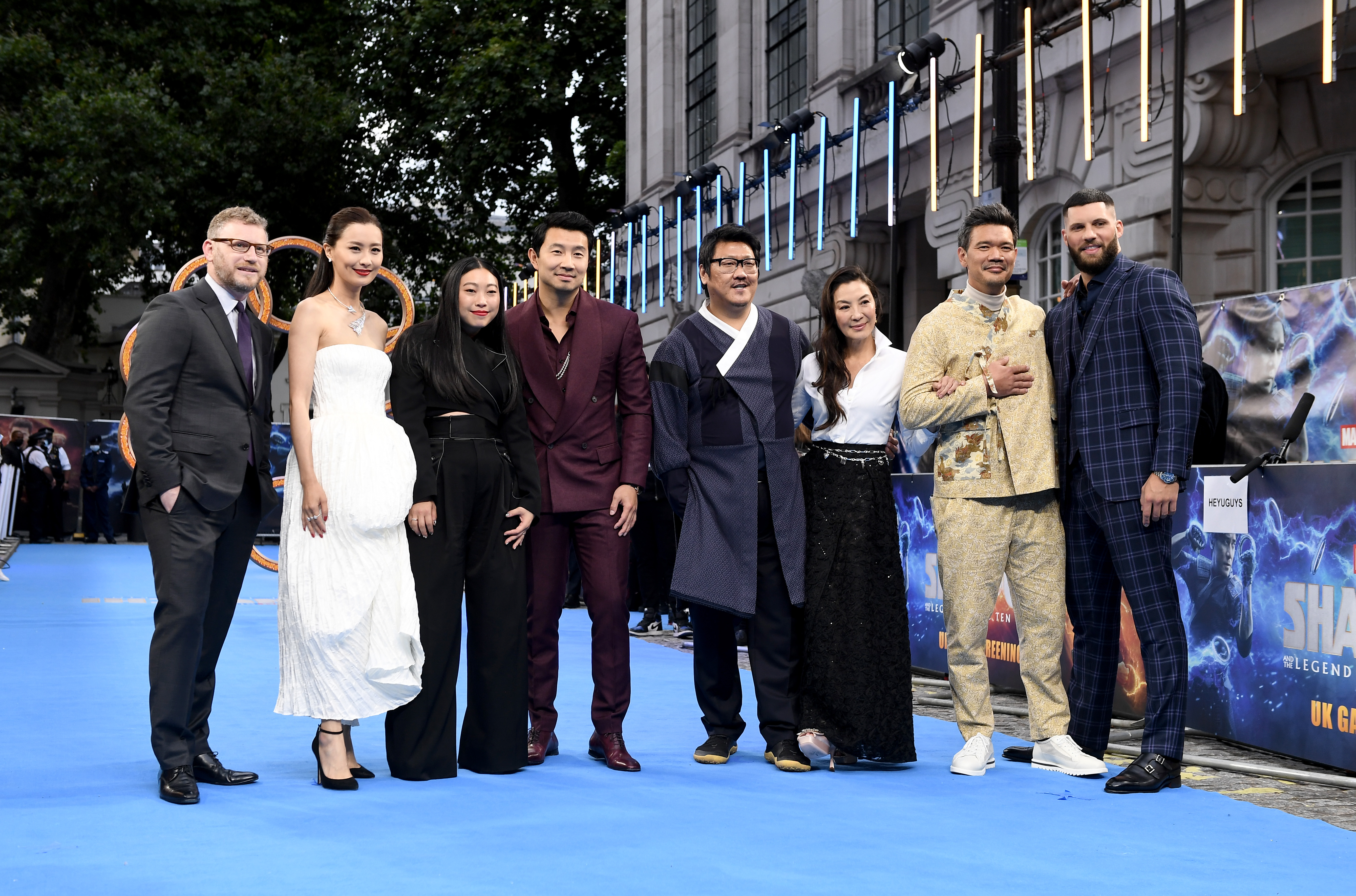 Michelle Yeoh, Benedict Wong, Destin Daniel Cretton, Fala Chen, Jonathan Schwartz, Simu Liu, Awkwafina, and Florian Munteanu at an event for Shang-Chi and the Legend of the Ten Rings (2021)