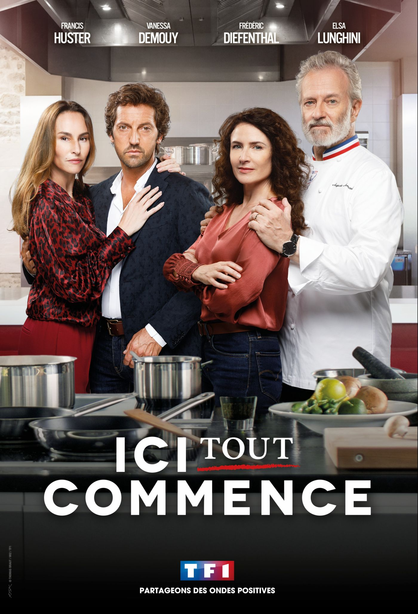 Vanessa Demouy, Frédéric Diefenthal, Francis Huster, and Elsa Lunghini in Ici Tout Commence (2020)