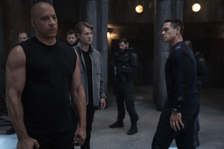 Vin Diesel, John Cena, and Thue Ersted Rasmussen in F9 (2021)