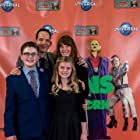 Producer Roger Lay Jr with cast members Kirsten Robek, Jayden Greig, and Lauren McNamara at world premiere for Universal's Aliens Ate My Homework