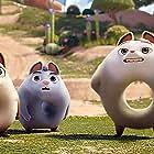 Ken Jeong, David Silverman, Adam Devine, and Rachel Bloom in Extinct (2021)