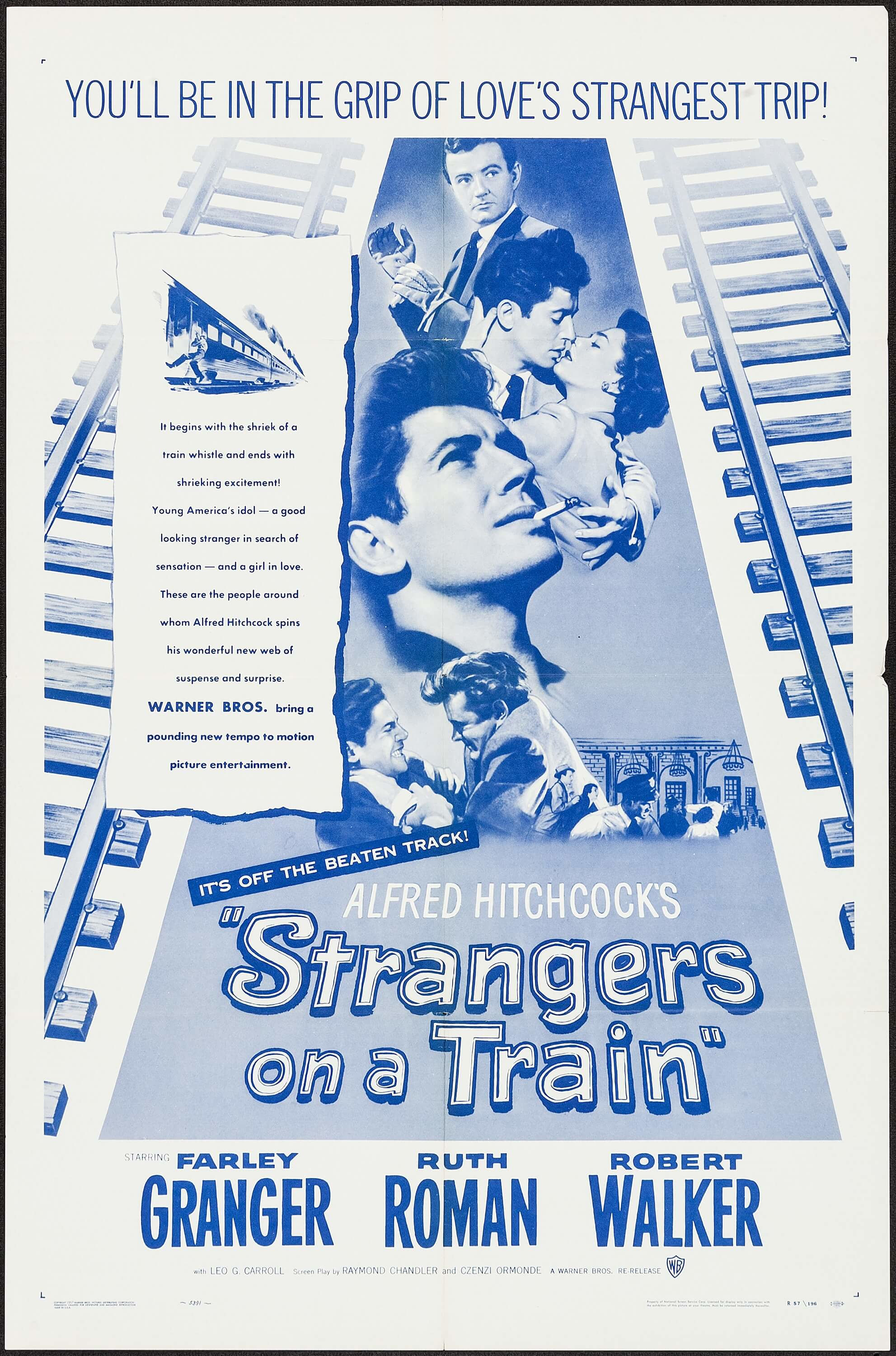 Farley Granger, Ruth Roman, and Robert Walker in Strangers on a Train (1951)