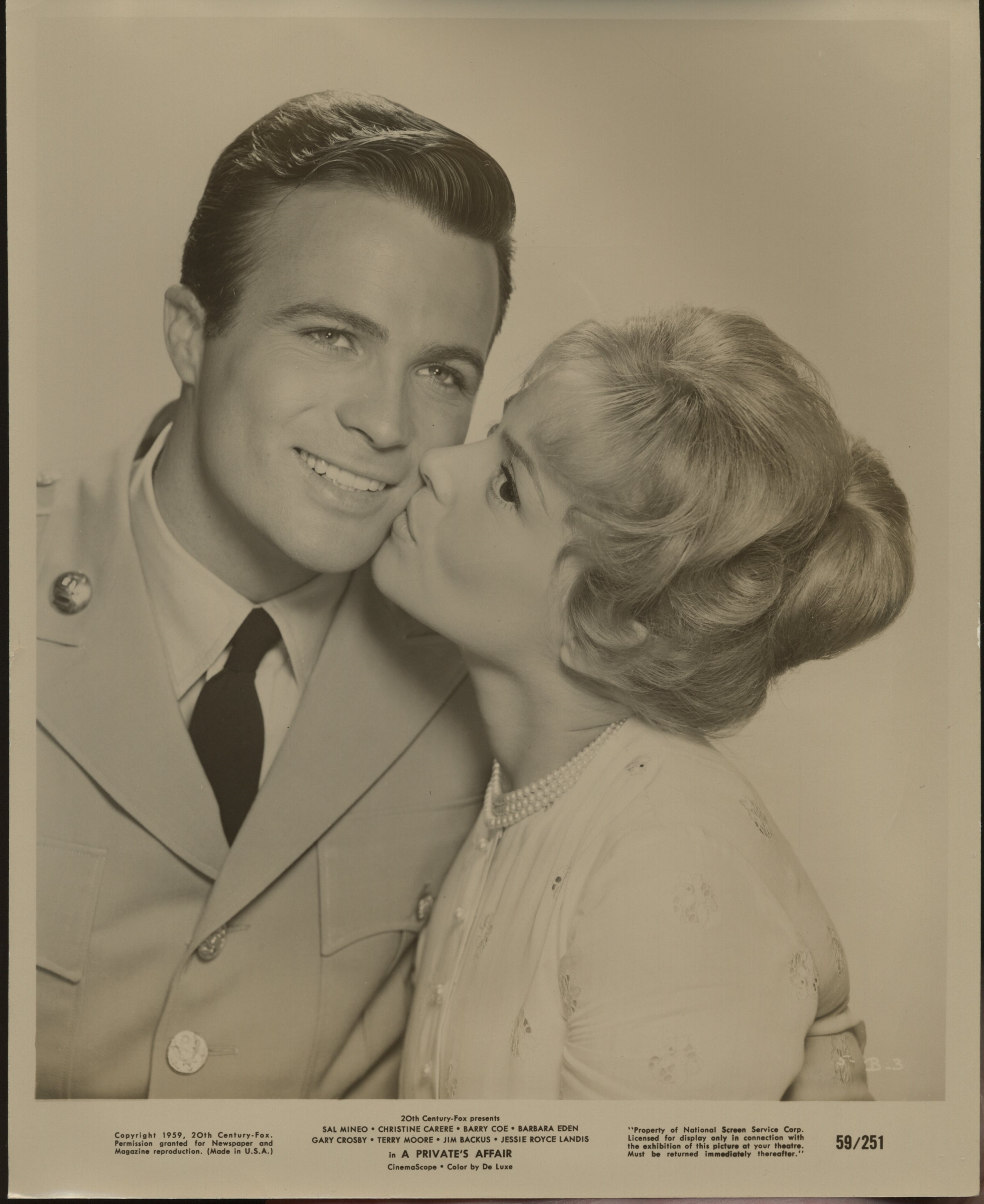 Christine Carère and Barry Coe in A Private's Affair (1959)
